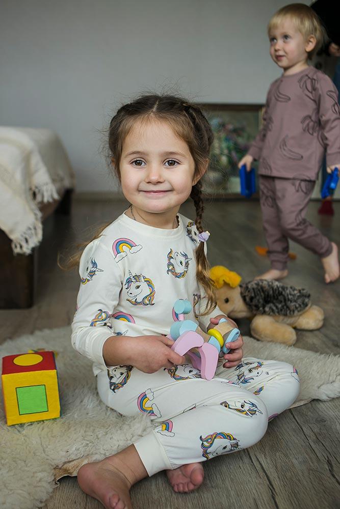 Детская пижама с единорогами для девочки