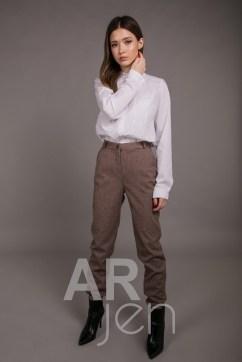 Женские брюки в мелкую гусиную лапку коричневые