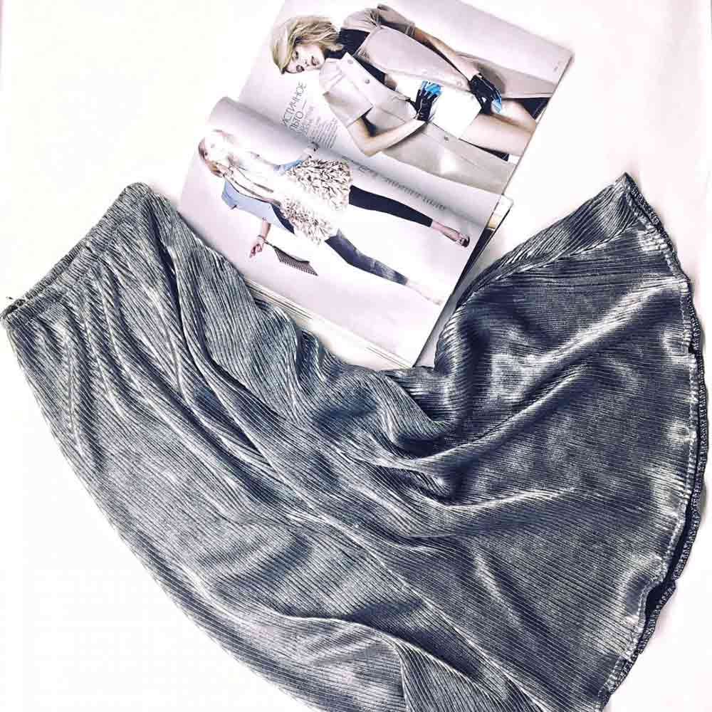 Серебряная юбка плиссе от производителя одежды Аржен