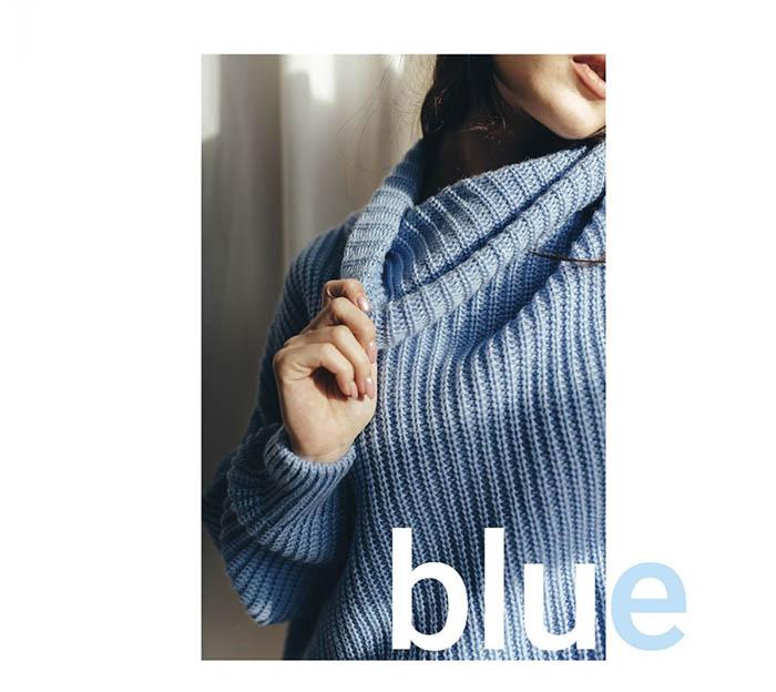 Голубой вязаный свитер от производителя Аржен