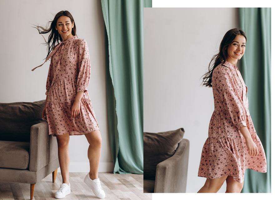 Платье с цветочным принтом под кроссовки - модные тренды