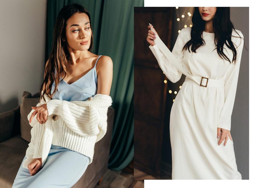 Вечерние платья из шелка - фото на моделях Аржен