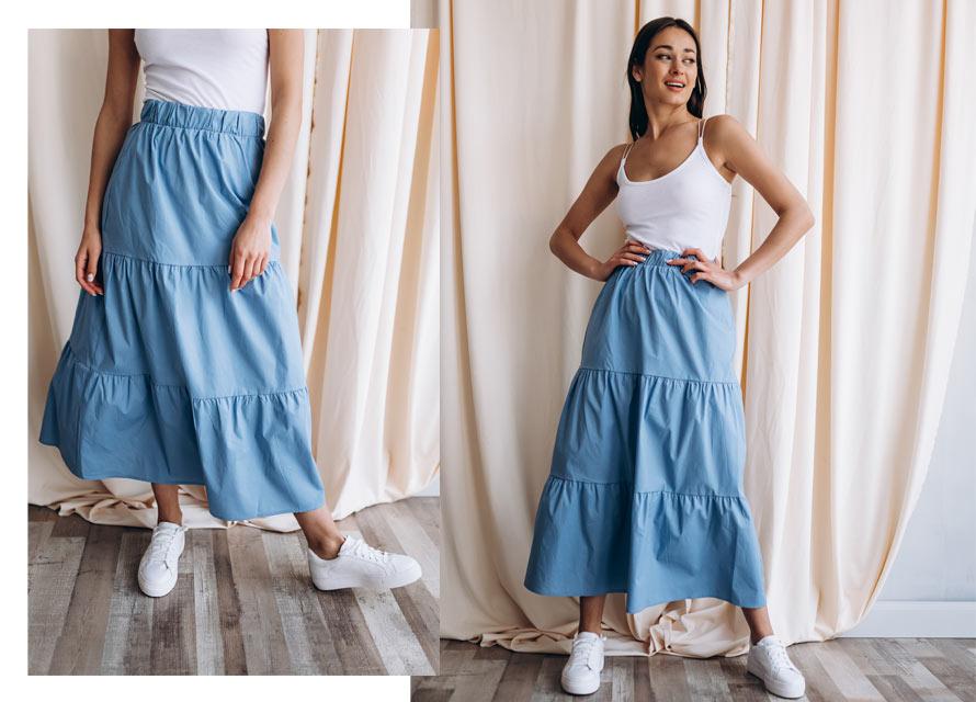 Как носить с кроссовками юбку-миди от Arjen - фото на модели