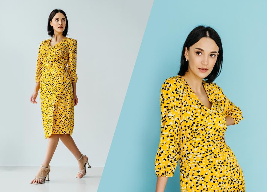 Модный принт абстракция на желтом платье - тренд 2021