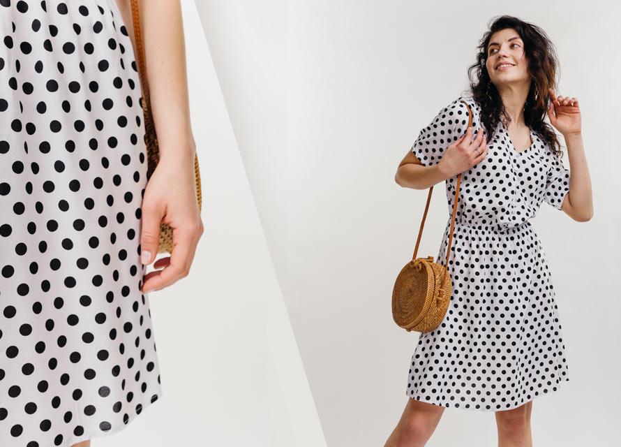 Модное белое платье в черный горошек - фото бренда Аржен