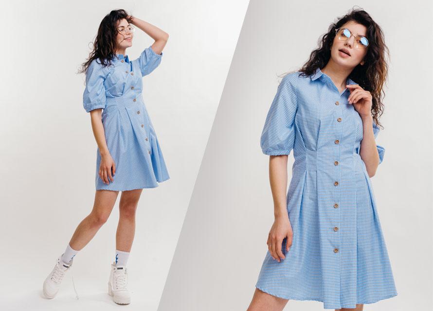 Модное платье с принтом клетка виши - фото от производителя Аржен