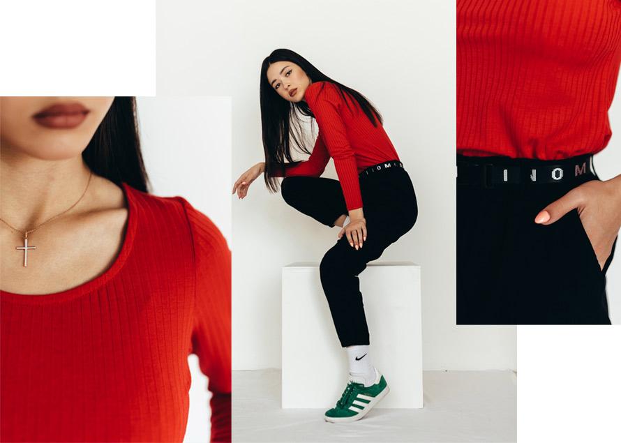 Красная женская кофточка с черными штанами - образ от Аржен