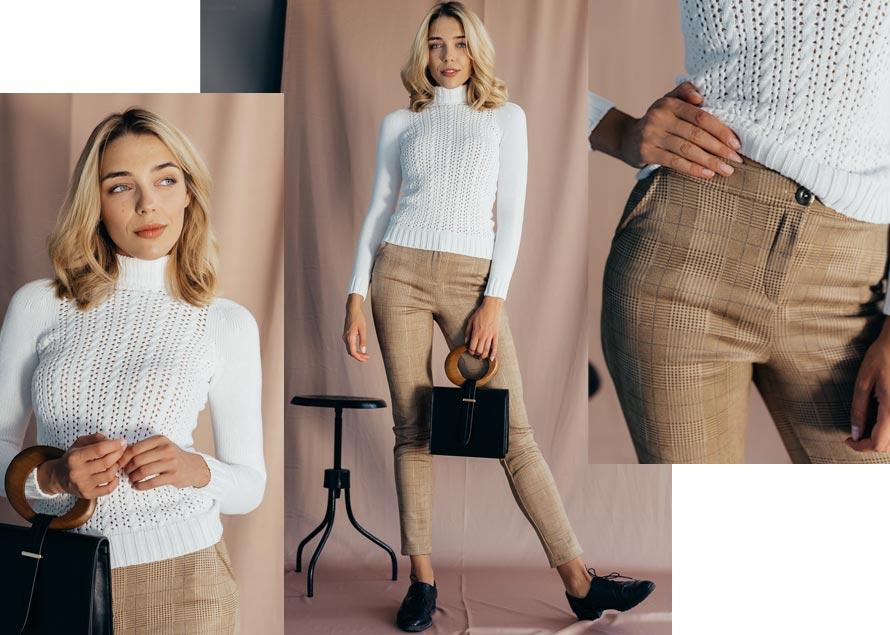 Светло-коричневые брюки с молочной водолазкой. Модная одежда от производителя Аржен