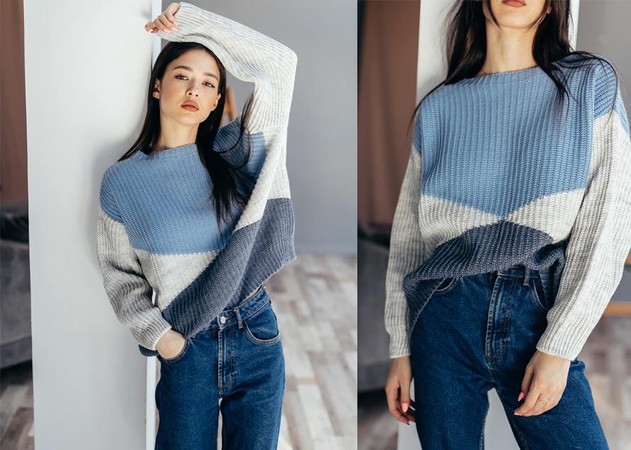 Большой вязаный свитер с джинсами - модный look бренда Аржен