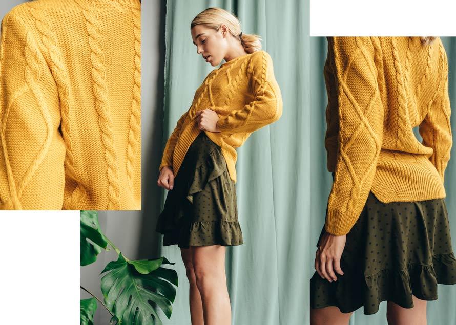 Желтый вязаный свитер от производителя Аржен