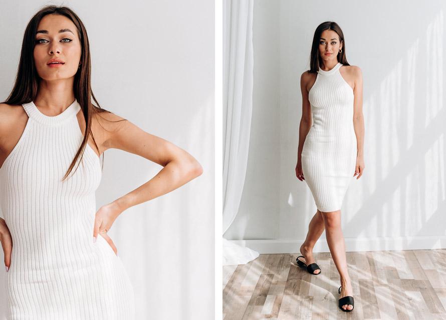 Модные платья лето 2020 - вязаное платье без рукавов