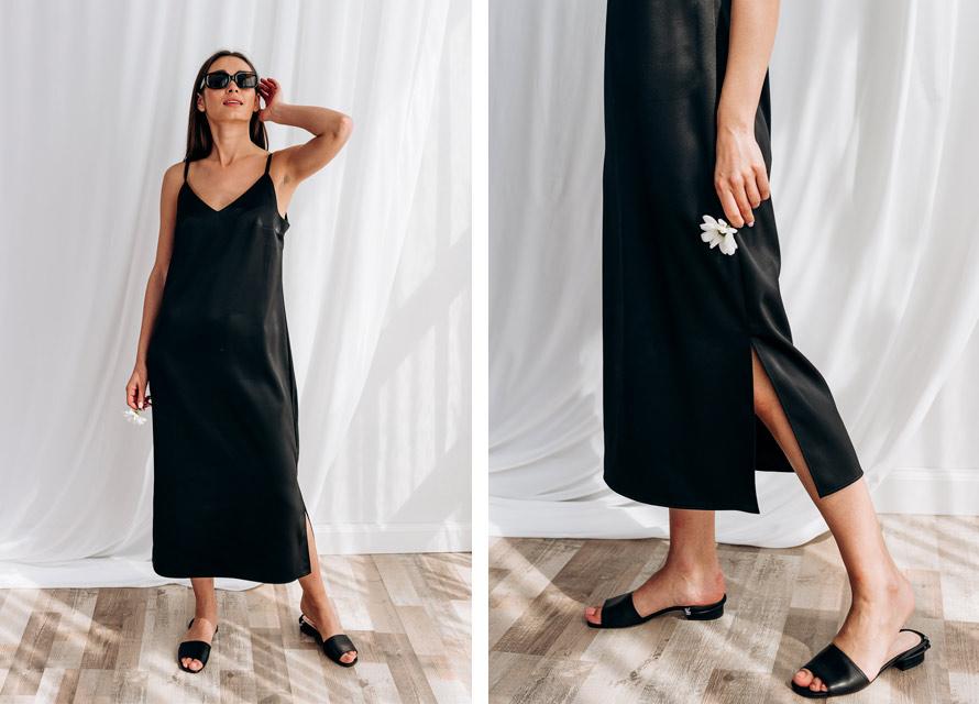 Черное платье в бельевом стиле - бренд Аржен