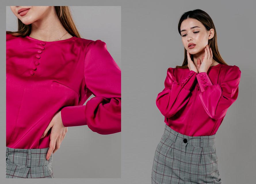 Неоновая малиновая блузка - тренд 2020