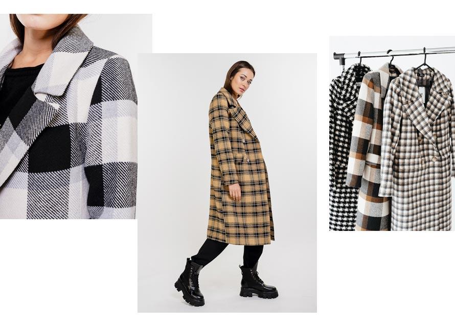 Модное женское пальто в клетку от Аржен - тренды