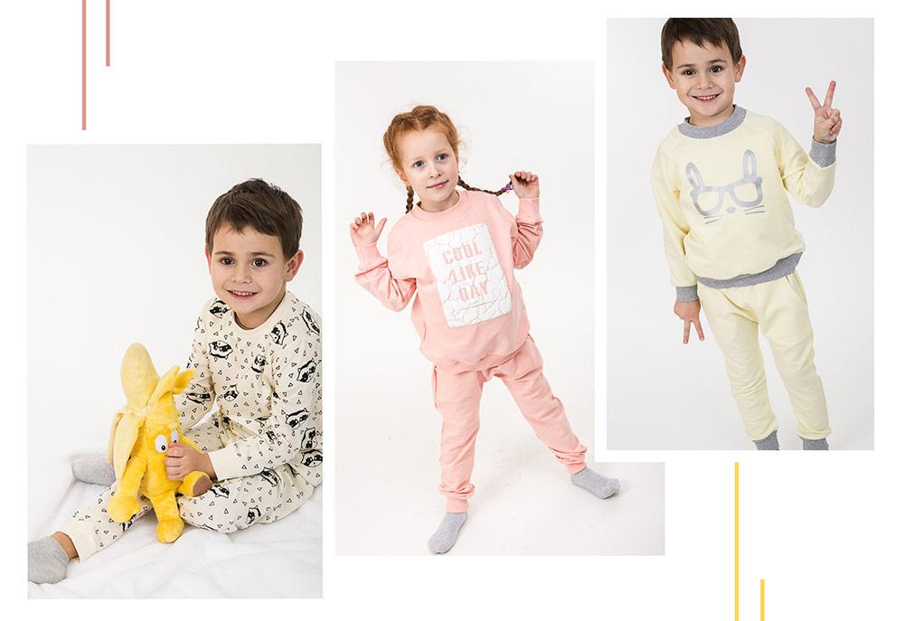 Детские пижамы и трикотажные костюмы для мальчиков и девочек. Фото