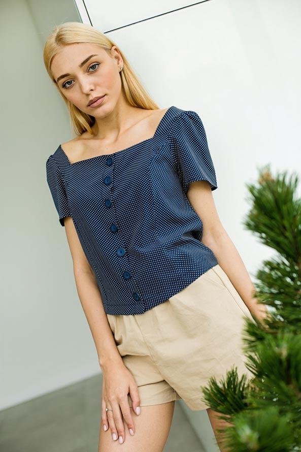 Модная летняя блузка в горошек от производителя Аржен