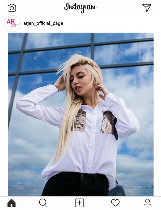 Красивое фото для Instagram в белой рубашке Аржен