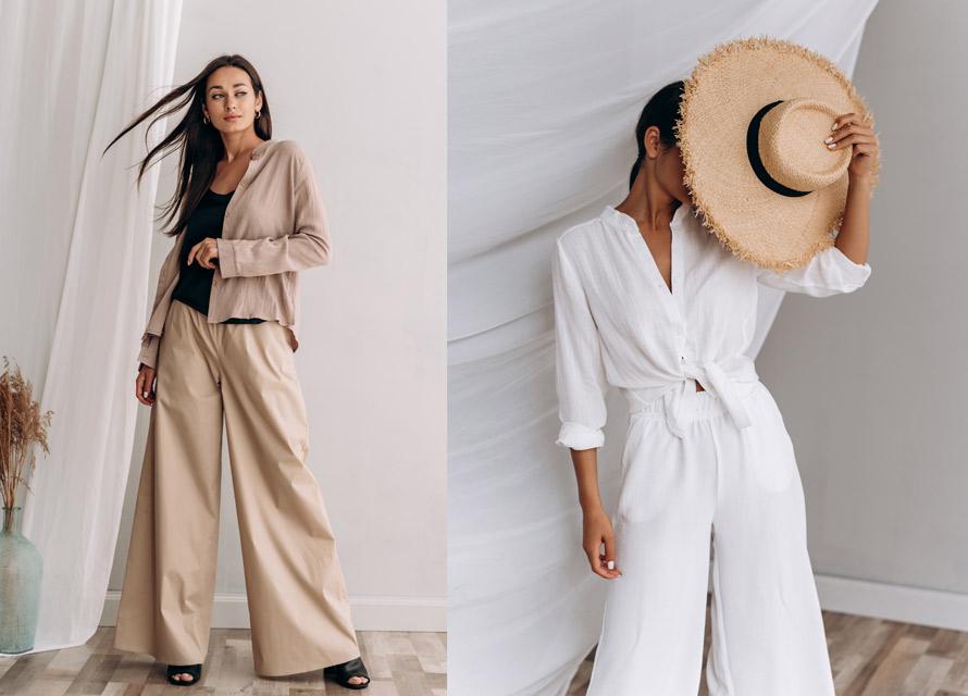 С чем носить женские широкие брюки летом - фото Аржен
