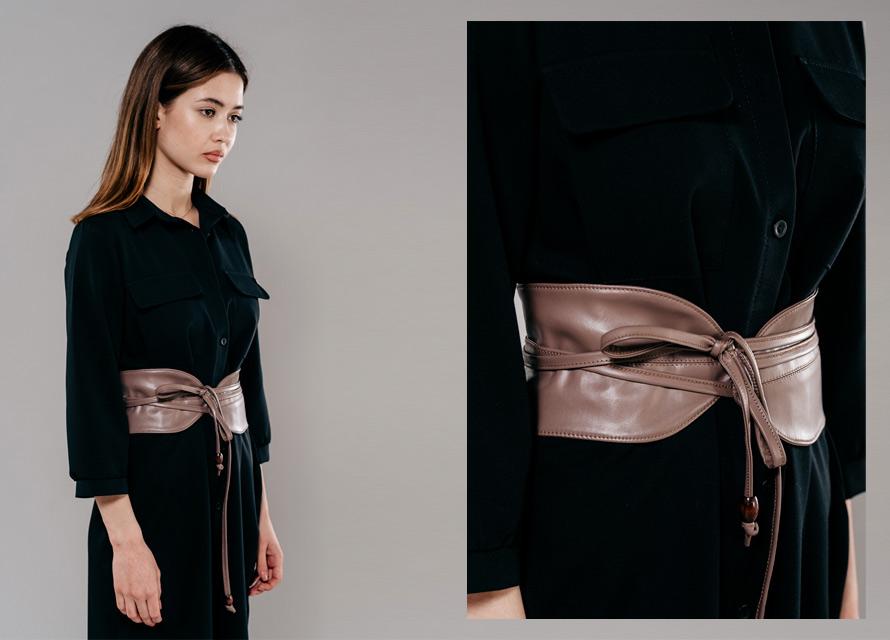 Кожаный ремень на талию. Модные аксессуары 2020