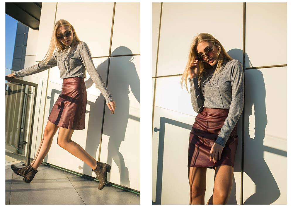 Бордовая кожана юбка с модной водолазкой от Аржен