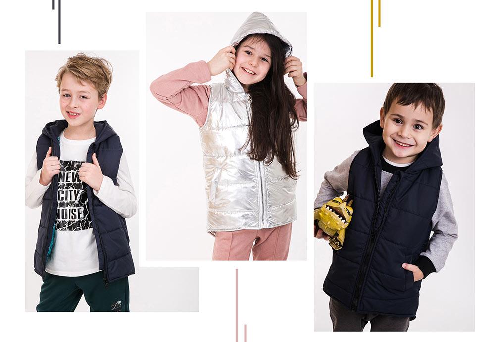 Детские теплые жилетки на синтепоне в интернет магазине Аржен