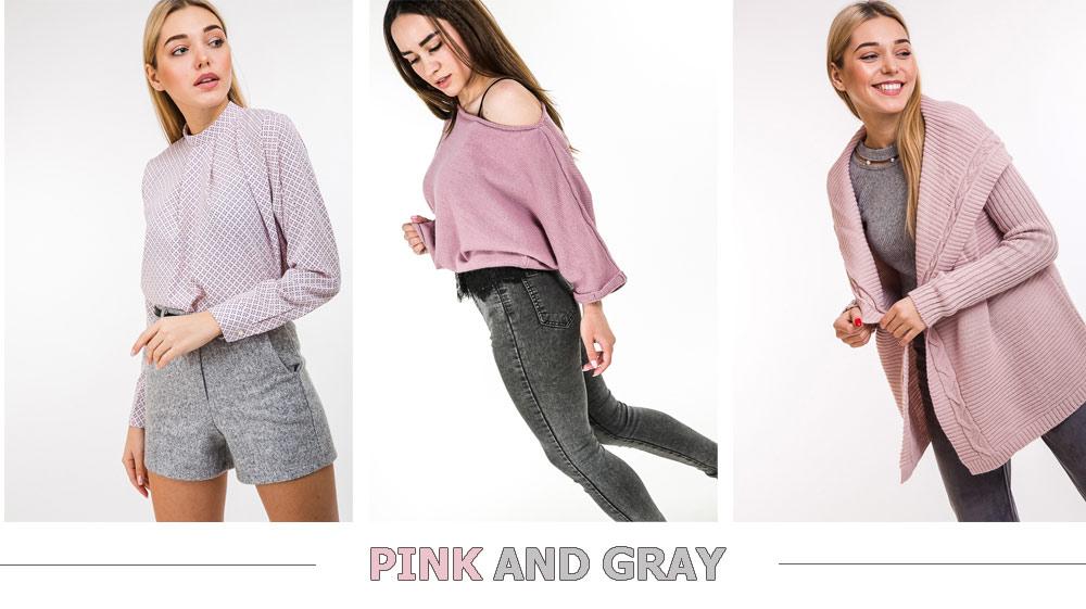 Розовый цвет и серый - примеры сочетания в одежде Аржен
