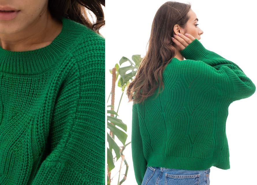 Зеленый вязаный джемпер Аржен. Модные цвета осень 2021