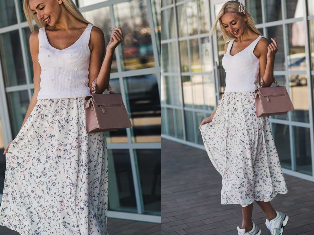 С чем сочетать юбку в цветочек пример Arjen