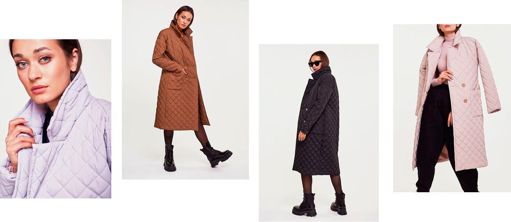Модное женское пальто стеганое - фото Аржен