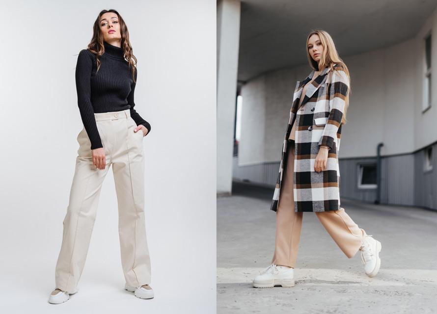 Модные образы с широкими женскими брюками от Аржен