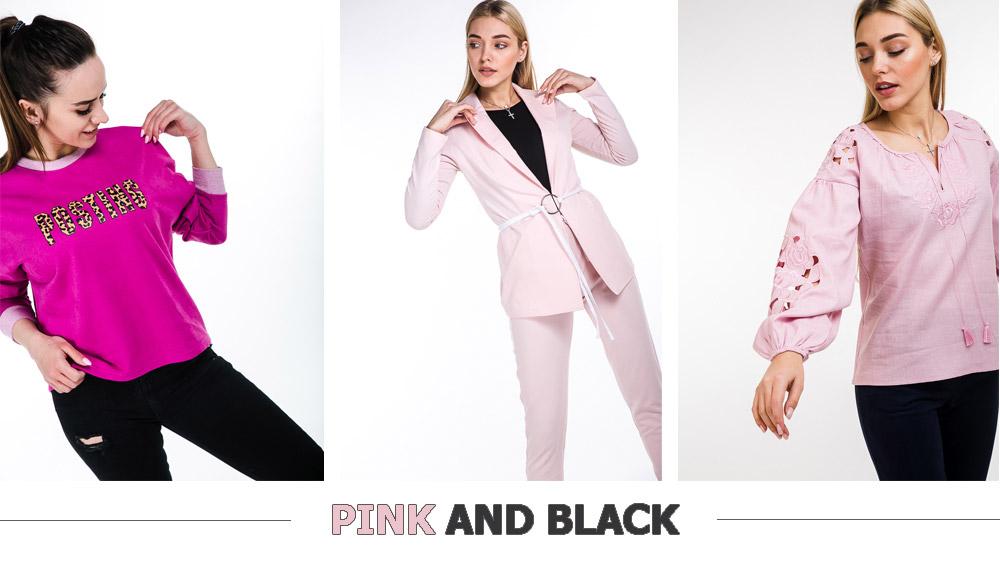 Модные сочетания розового и черного цвета в одежде Arjen