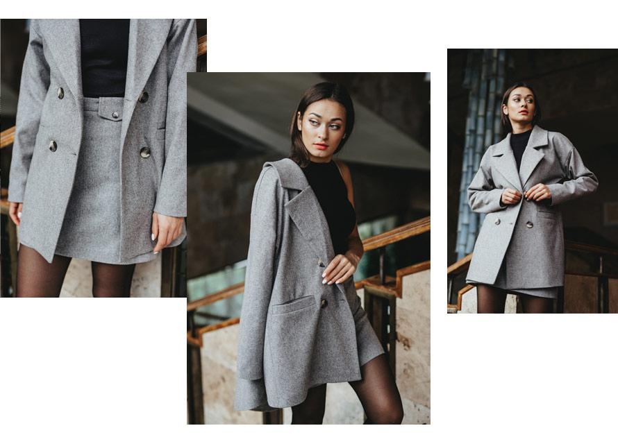Модный осенний комплект - теплый блейзер и юбка Аржен
