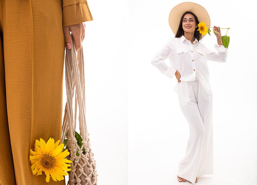 Женский костюм с рубашкой и брюками Аржен. Фото модных трендов осень 2021
