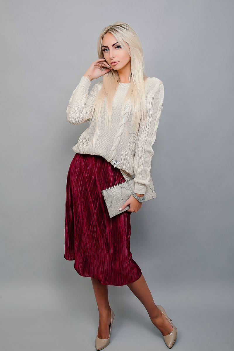 Юбка плиссе с вязанным свитером, модный лук от Аржен