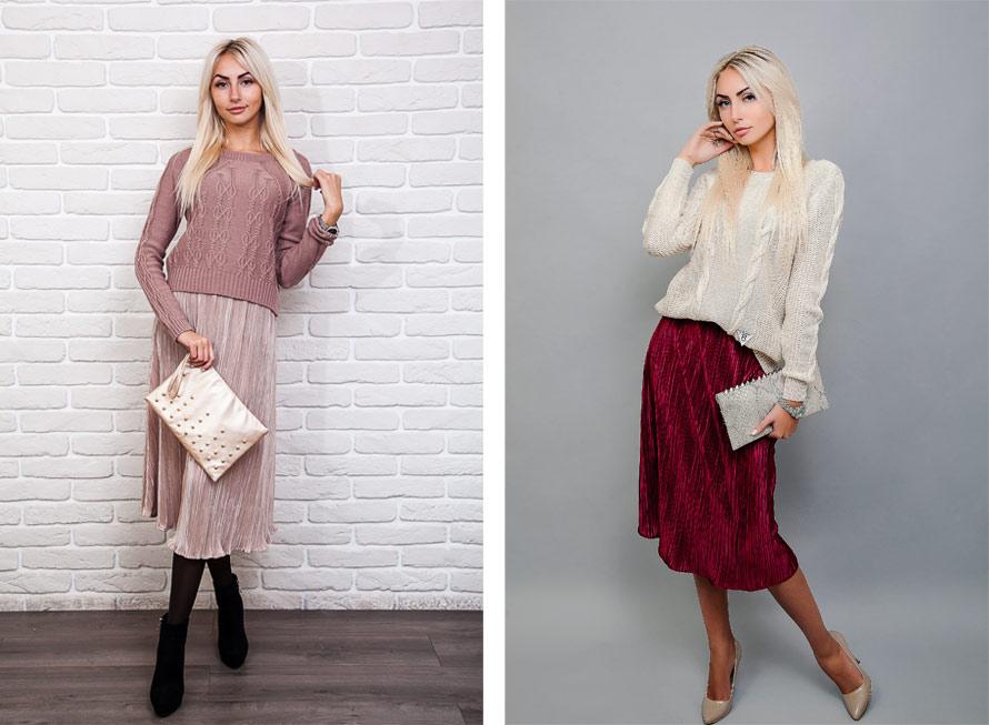 Как сочетать юбку плиссе с вязаной кофтой - фото Аржен