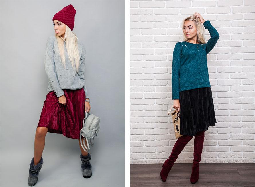 Модные юбки плиссе - с чем носить зимой. Фото